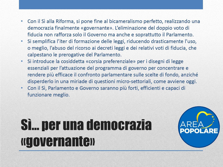 si per una democrazia governante